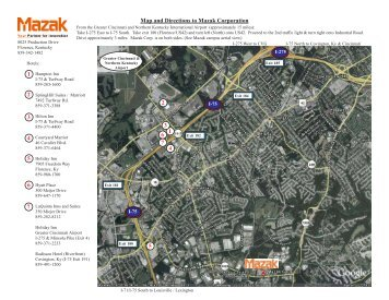 Map and Directions to Mazak Corporation