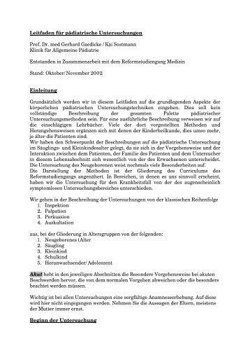 Leitfaden für pädiatrische Untersuchungen Prof. Dr. med Gerhard ...