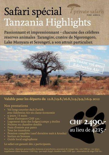 Safari spécial - ES Voyages et Vacances SA