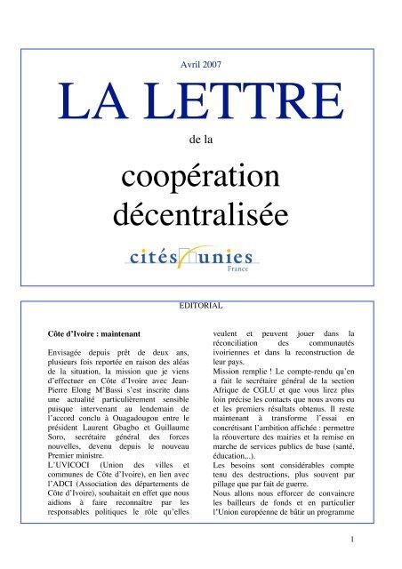 La Lettre d'avril 2007 - Cités Unies France