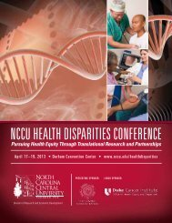 NCCU HealtH Disparities CoNfereNCe - North Carolina Central ...