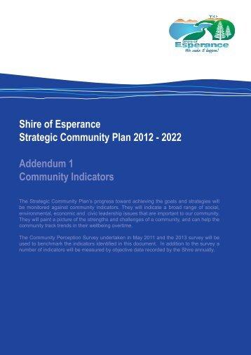 Community Indicators here. - Shire of Esperance