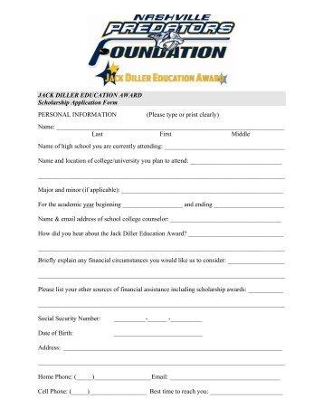 Diller Education Award Scholarship Application Form