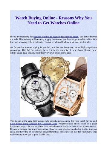 Watch Buying Online - Reasons Why You Need to Get Watches Online
