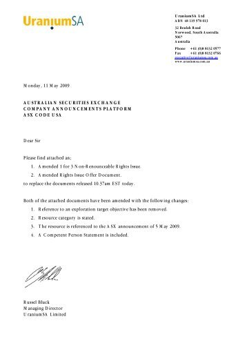 rights issue offer document - UraniumSA