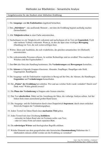Methoden zur Bibellektüre – Semantische Analyse