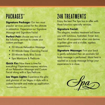 Brochure of services - Golden Nugget