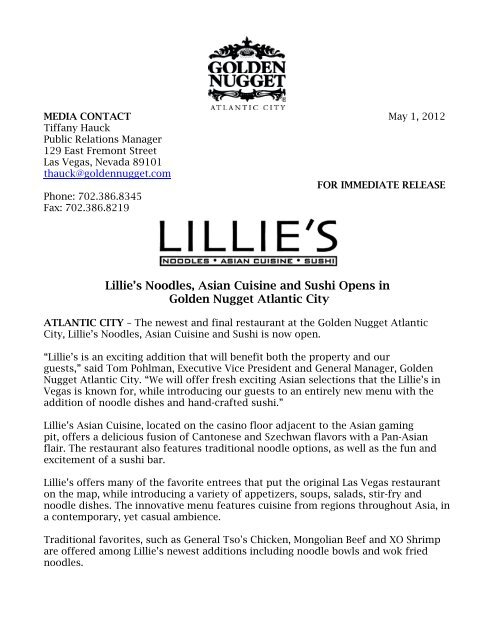 Lillies Noodles Asian Cuisine And Sushi Opens In Golden Nugget