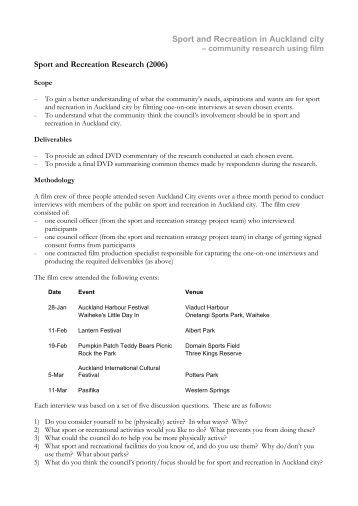 Sport and Recreation in Auckland city Sport and Recreation ...