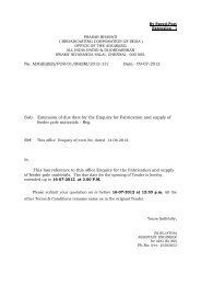 Extension of due date for the Enquiry for Fabrication ... - All India Radio