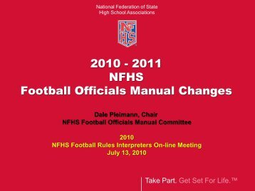 Football rules changes 2010 2011 nfhs football officials manual changes fandeluxe Gallery