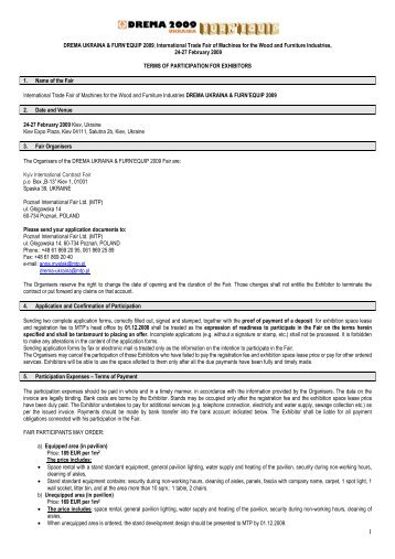 terms of participation - Targi DREMA UKRAINA & FURN'EQUIP ...