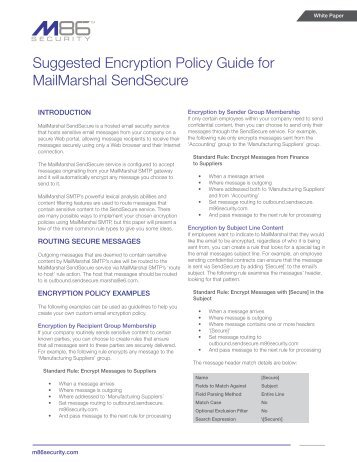 suggested encryption policy guide for mailmarshal nwtech