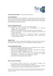 Course Title and Number: Fundamentals of Finance Course ...