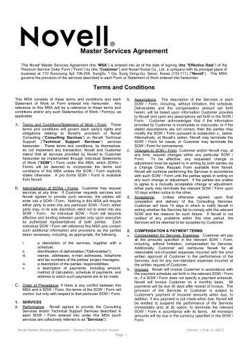 Consulting Master Agreement