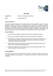 SYLLABUS Course Title: Genetics in Nursing and Healthcare Term ...