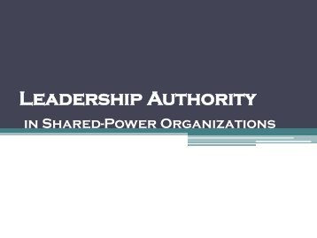 Leadership Authority in Shared-Power Organisations