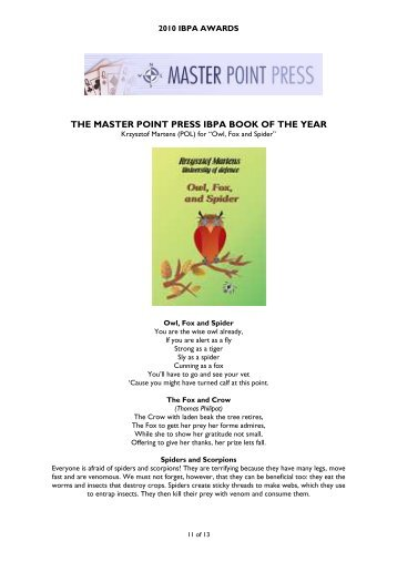 The Master Point Press IBPA Book of the year 2010 ... - Claire Bridge
