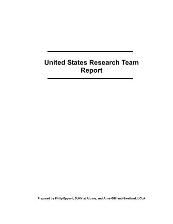 United States Research Team Report
