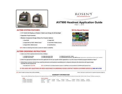 AV7900 Headrest Application Guide - Rosen Electronics on