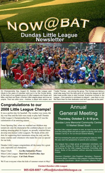 September Newsletter - Dundas Little League