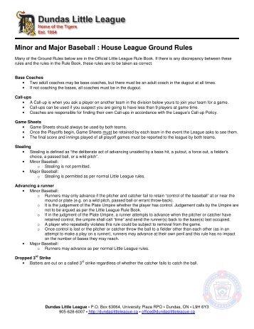DLL Ground Rules - Dundas Little League