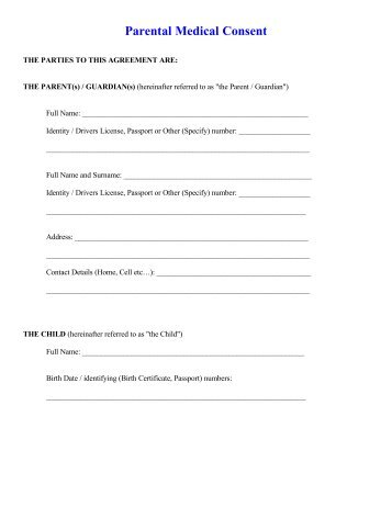 Medical Authorization Parental Consent Form