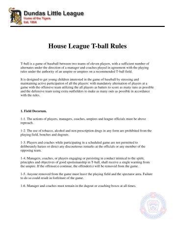Rules of Play - Dundas Little League