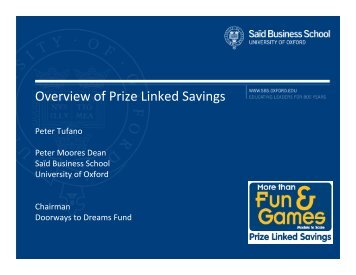Overview of Prize Linked Savings - D2D Fund