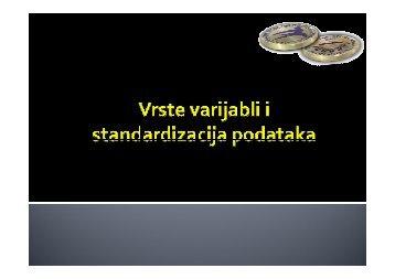 Vrste varijabli i standardizacija