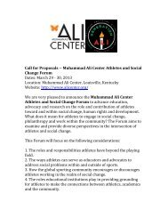 Call for Proposals -‐-‐ Muhammad Ali Center Athletes and Social ...