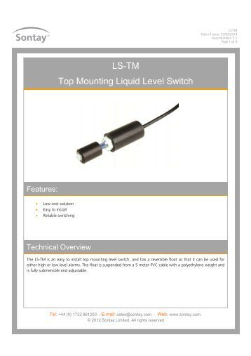 Pl 630 Liquid Differential Pressure Switch Sontay
