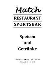 RESTAURANT SPORTSBAR Speisen und Getränke - HANSE ...