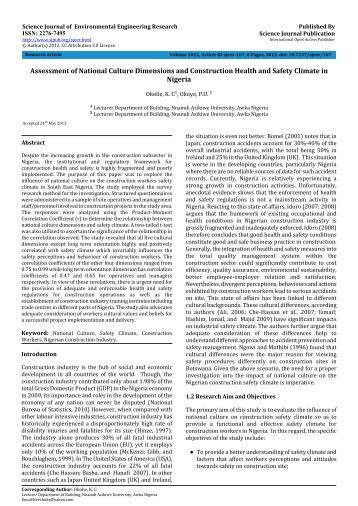 Assessment of National Culture Dimensions and Construction ...