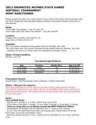 2012 shoprite® nutmeg state games softball tournament pony ...