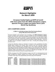 Network Highlights for March 2009 European football ... - Fox Sports