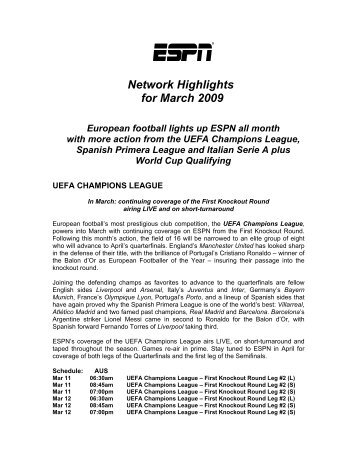 Network Highlights for March 2009 European football ... - Fox Sports