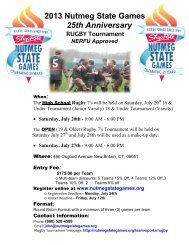 2013 Nutmeg State Games 25th Anniversary RUGBY Tournament ...