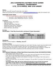2012 shoprite® nutmeg state games baseball tournament 13's, 15 ...