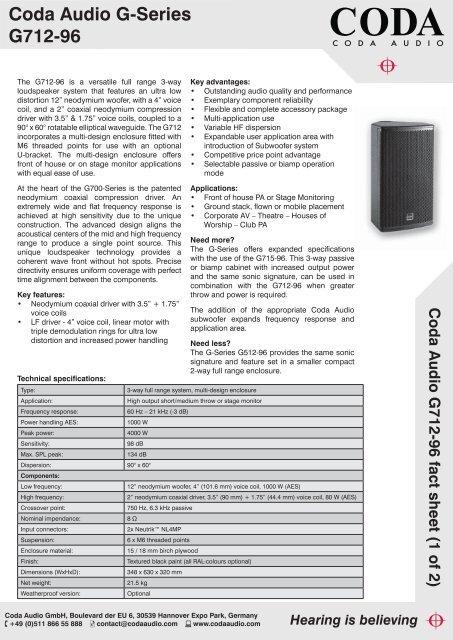 Coda Audio G712-96 fact sheet indd