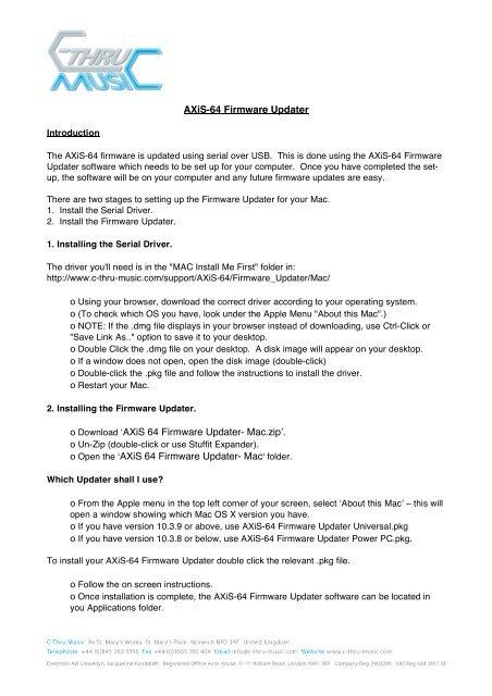 AXiS-64 Firmware Updater o Download Ê»AXiS 64     - C-Thru Music