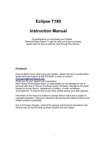 Eclipse T180 Instruction Manual - Amazon S3