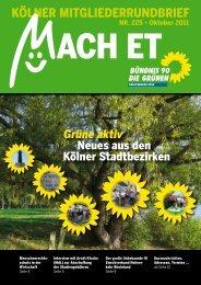 NR. 225 • Oktober 2011 - Bündnis 90/Die Grünen Kreisverband Köln