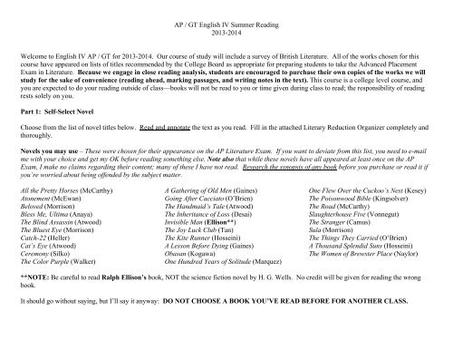 Web Version 12 Summer Reading Assignment 13-14 - Mesquite ISD