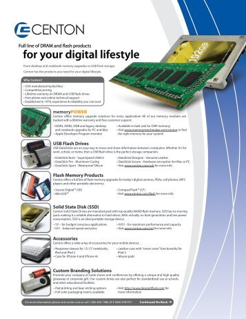 for your digital lifestyle - Centon Electronics, Inc.