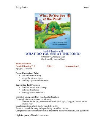 what do you see at the pond - Lee & Low Books