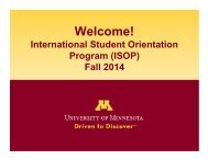 Morning Session presentations - ISSS Home - University of Minnesota