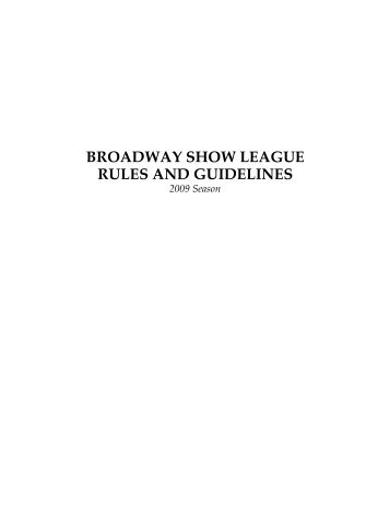 rules - The Broadway Show League