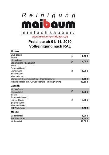 Vollreinigung nach RAL Preisliste ab 01. 11. 2010 - Reinigung ...