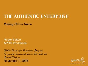 the authentic enterprise - Corporate Communication International